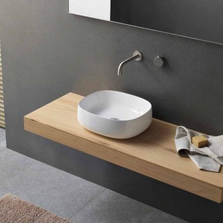 Lavabo da Appoggio per Bagno in Ceramica Bianca Design Ovale Moderno - Tune3
