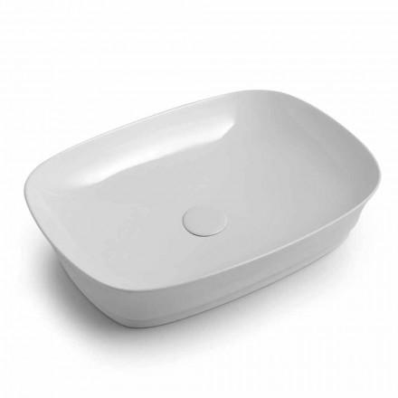 Lavabo da Appoggio per Bagno Rettangolare in Ceramica Made in Italy – Zarro