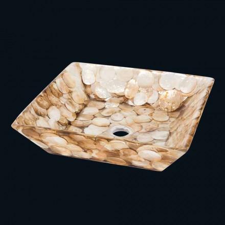 Lavabo da appoggio quadrato di design Akira, in resina artificiale