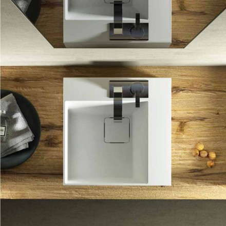 Lavabo da appoggio quadrato di moderno design fatto in Italia, Lavis