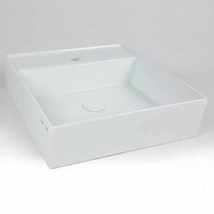 Lavabo da Appoggio Quadrato Moderno in Ceramica Made in Italy – Piacione