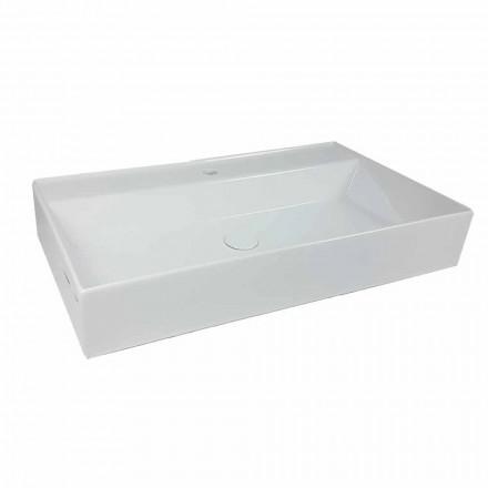 Lavabo da Appoggio Rettangolare L 80 cm in Ceramica Made in Italy – Piacione