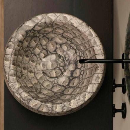 Lavabo da appoggio tondo ceramica caimano di design made Italy Elisa