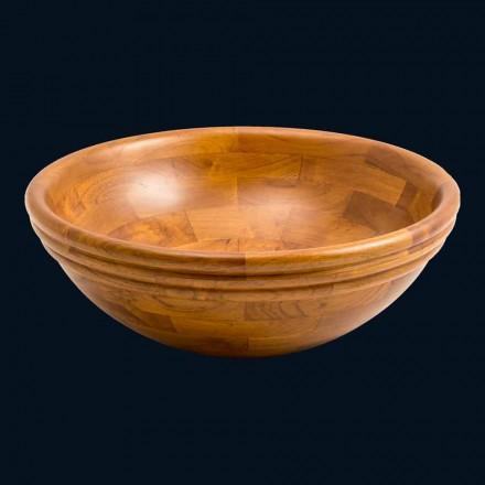Lavabo da appoggio tondo in legno di teak Kobe, pezzo unico