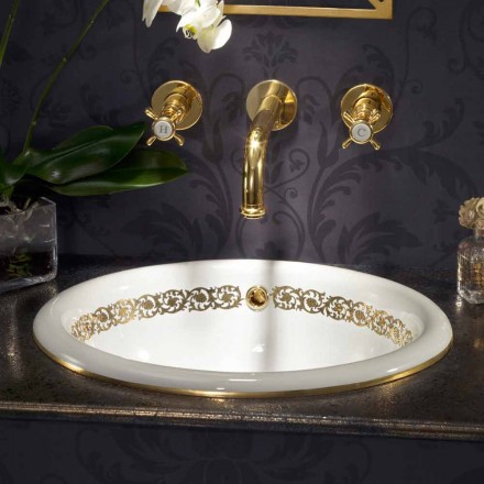 Lavabo da bagno a incasso in fire clay e oro 24k made in Italy, Otis