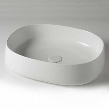 Lavabo per Bagno da Appoggio Ovale L 50 cm in Ceramica Made in Italy – Cordino