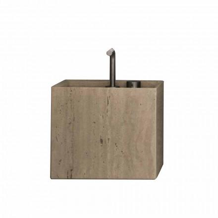 Lavabo da Bagno di Pietra da Appoggio Design Alto Quadrato Moderno - Farartlav2