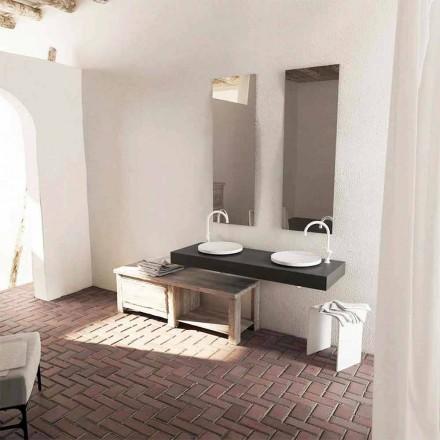 Lavabo bagno da appoggio rotondo Crema, design moderno, made in Italy