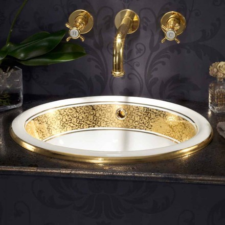 Lavabo da incasso tondo in fire clay e oro 24k fatto in Italia, Otis
