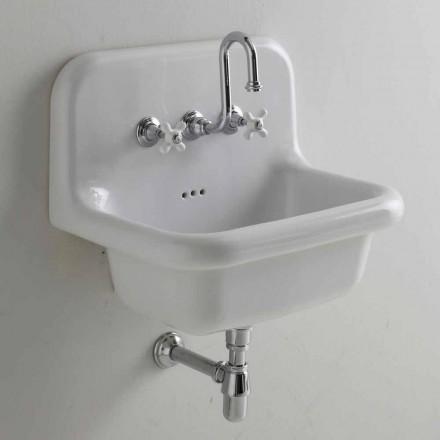 Lavabo da muro in ceramica bianca rettangolare di design vintage Davis