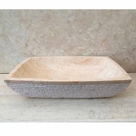 Lavabo design da appoggio per bagno Ala bianco, pezzo unico, in pietra
