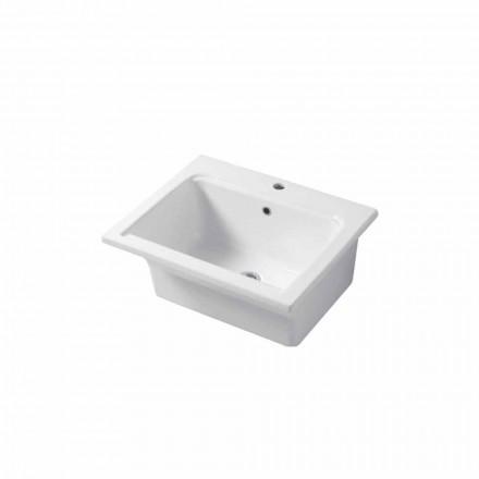 Lavabo Design Moderno da Appoggio e Incasso in Ceramica Satri
