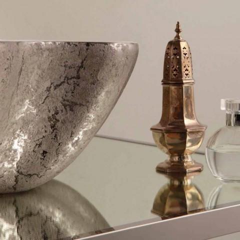 Lavabo di design da appoggio ceramica bianco argento made Italy Cubo