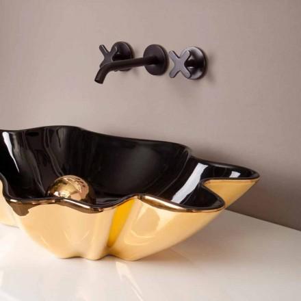 Lavabo di design da appoggio ceramica nero e oro made in Italy Rayan