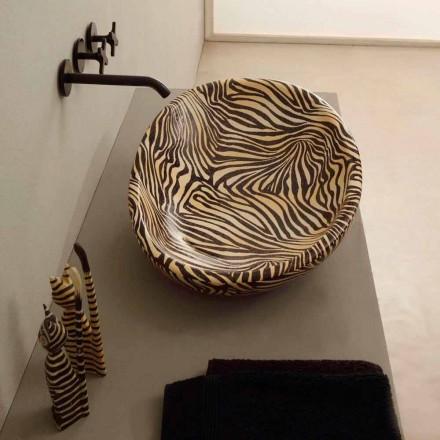 Lavabo di design da appoggio ceramica zebra arancio made Italy Glossy