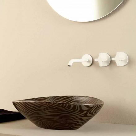 Lavabo di design da appoggio ceramica zebrata nero made Italy Animals