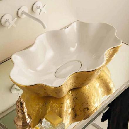 Lavabo di design da appoggio in ceramica bianco e oro made Italy Cubo