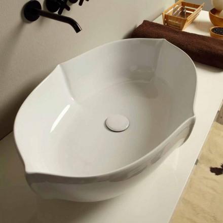 Lavabo di design da appoggio in ceramica bianco made in italy Oscar