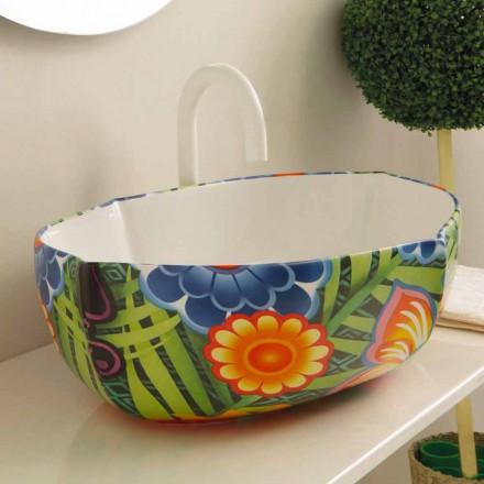 Lavabo di design da appoggio in ceramica disegnata made in Italy Oscar