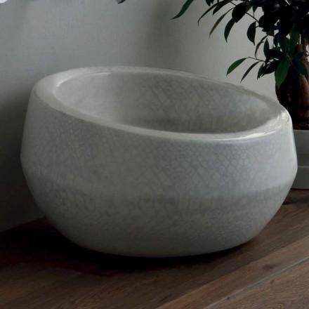 Lavabo di design da appoggio in ceramica pitonata made in Italy Elisa