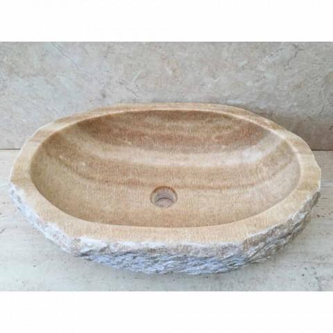 Lavabo di design da appoggio per bagno Laia in pietra naturale