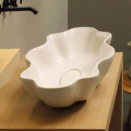 Lavabo di design moderno da appoggio ceramica bianco made Italy Cubo