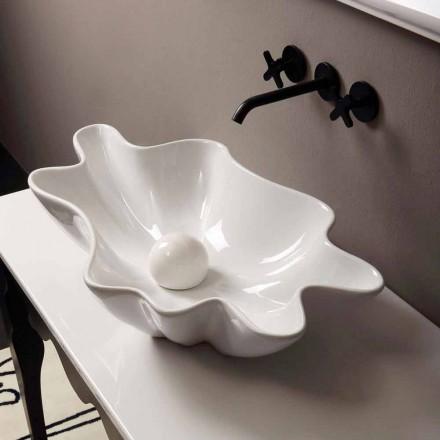 Lavabo di design moderno da appoggio ceramica bianco made Italy Rayan