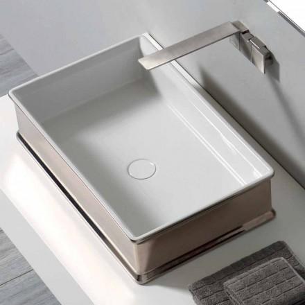 Lavabo di moderno design da appoggio in ceramica made in Italy Debora