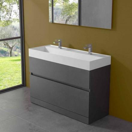 Lavabo Doppio con Mobile da Terra Design da Bagno Moderno in Laminato - Pompei