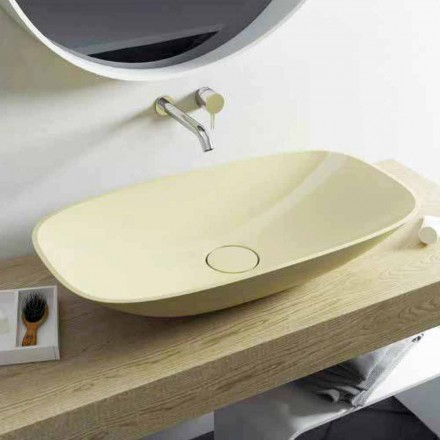 Lavabo moderno da appoggio di design Taormina Big, made in Italy