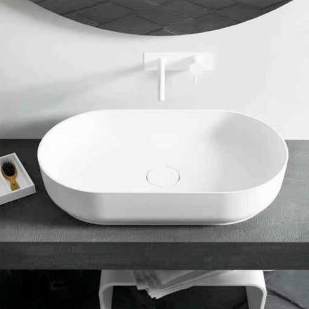 Lavabo da appoggio ovale dal design moderno Dalmine Big, made in Italy