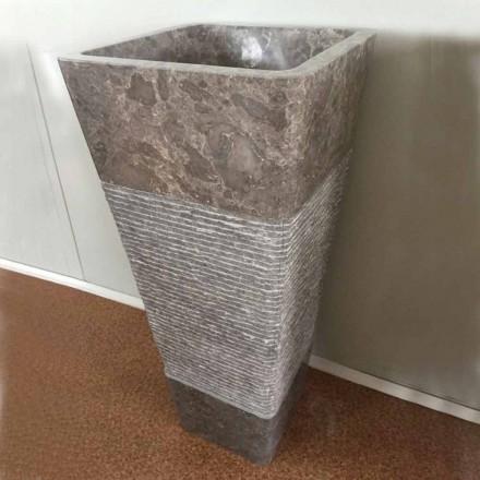 Lavabo grigio a colonna di design in pietra naturale Taffy,pezzo unico