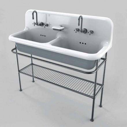 Lavabo in ceramica vintage a due vasche da appoggio su struttura Calvin