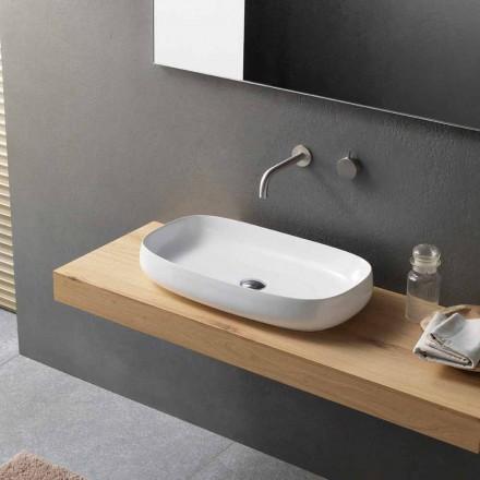 Lavabo in Ceramica Bianco da Appoggio di Design Moderno Made in Italy - Tune1