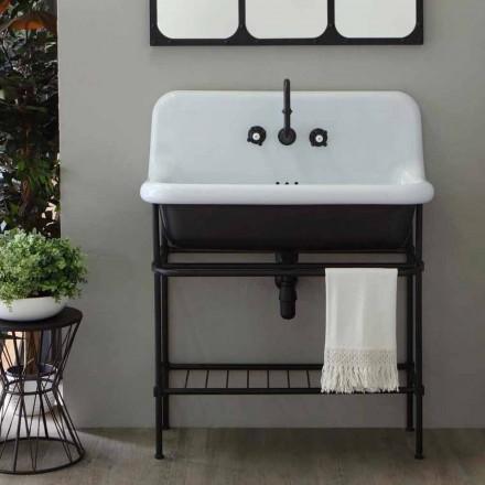 Lavabo in ceramica stile vintage con struttura e griglia metallica Taylor