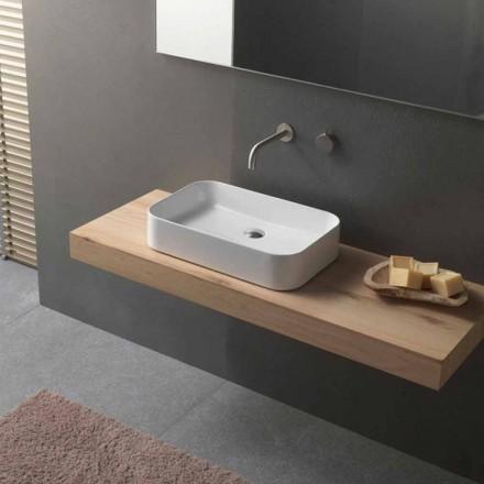 Lavabo in Ceramica da Bagno di Design Moderno Rettangolare da Appoggio - Tangulo