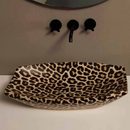 Lavabo in ceramica ghepardo da appoggio di design made in Italy Laura