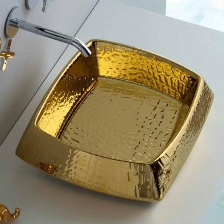 Lavabo in ceramica oro da appoggio moderno prodotto in Italia Simon