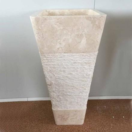 Lavabo in pietra naturale a colonna Robin, bianco pezzo unico