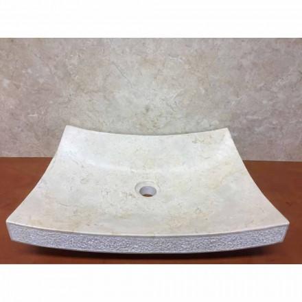 Lavabo in pietra naturale di design bianco Love, pezzo unico