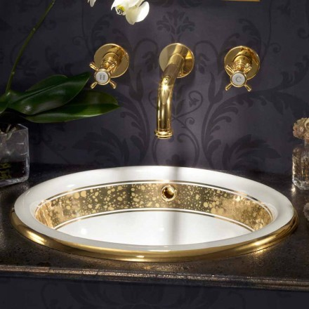 Lavabo incasso di design barocco in fire clay e oro 24 carati, Otis