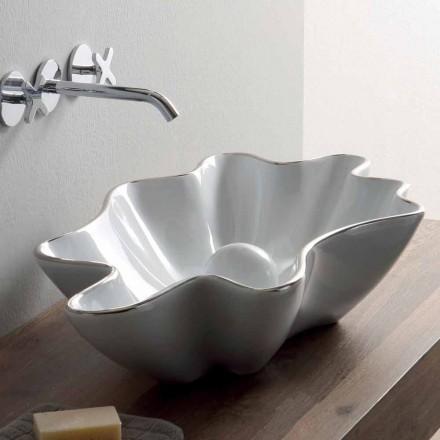 Lavabo moderno da appoggio in ceramica bianco fatto in Italia Rayan