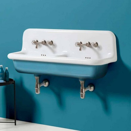 Lavabo vintage da muro a doppia vasca in ceramica di design Jack