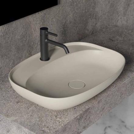 Lavabo Ovale da Appoggio per Bagno Design in Ceramica Made in Italy - Omarance