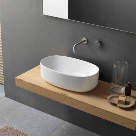 Lavabo Ovale in Ceramica Bianca Moderno e da Appoggio di Design - Ventori1