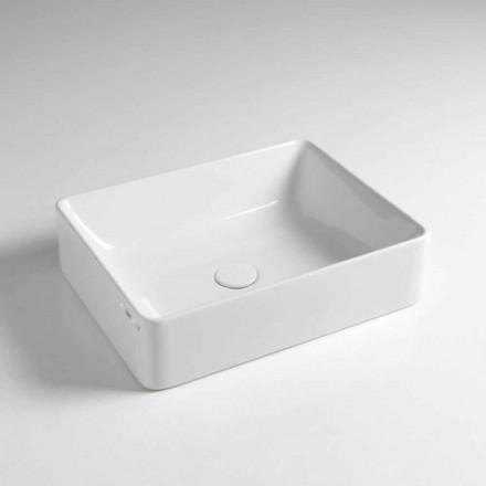 Lavabo Rettangolare da Appoggio L 50 cm in Ceramica Made in Italy – Rotolino