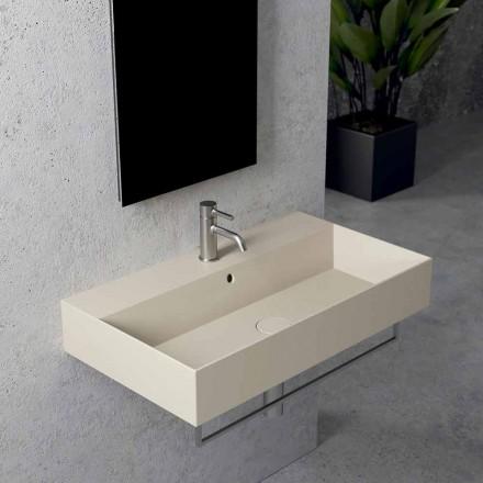 Lavabo Rettangolare da Appoggio o Sospeso in Ceramica, Design 3 Misure - Malvina