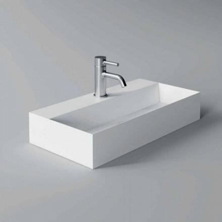 Lavabo Rettangolare da Appoggio o Sospeso Moderno 60x30 cm in Ceramica - Act