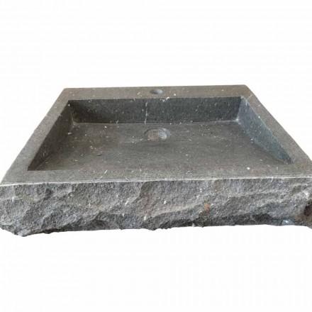 Lavabo rettangolare in pietra andesite da appoggio Nisa, fatto a mano