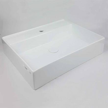 Lavabo Rettangolare L 60 cm da Appoggio in Ceramica Made in Italy – Piacione
